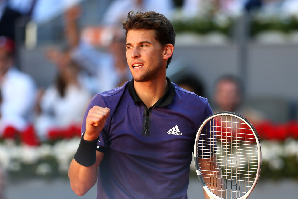 Dominic Thiem fist pumping during his win over Roger Federer