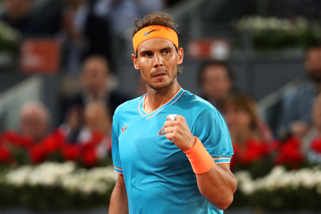 Rafael Nadal reacts after his best clay-court win of the season against Stan Wawrinka