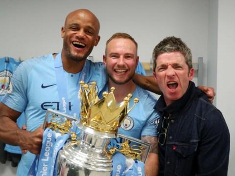 Watch Noel Gallagher lead Wonderwall singalong in Man City dressing room after Premier League title win