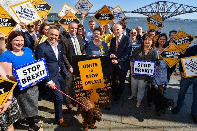 Liberal Democrats pose with Stop Brexit signs