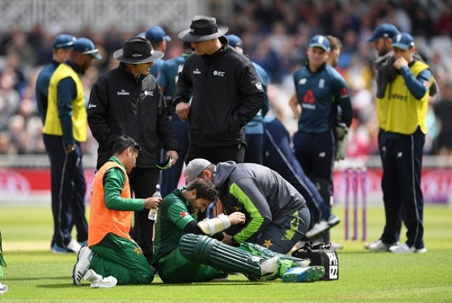 Pakistan's Imam-ul-Haq retired hurt after being struck on the elbow