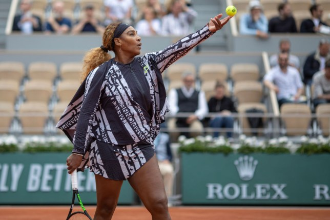 Serena WIlliams warms up in her striking French Open outfit