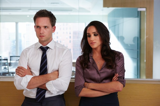 Patrick J Adams and Meghan Markle in a scene together from Suits