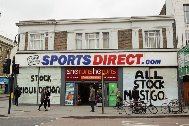 A Sports Direct store in the process of closing down