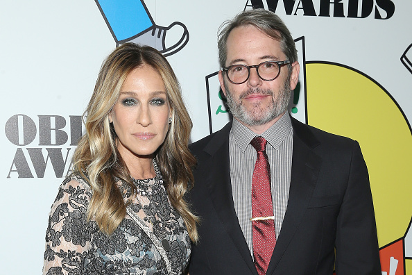 Sarah Jessica Parker and husband Matthew Broderick pose together at American Theatre Awards