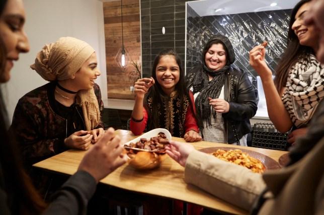 Family at iftar during Ramadan