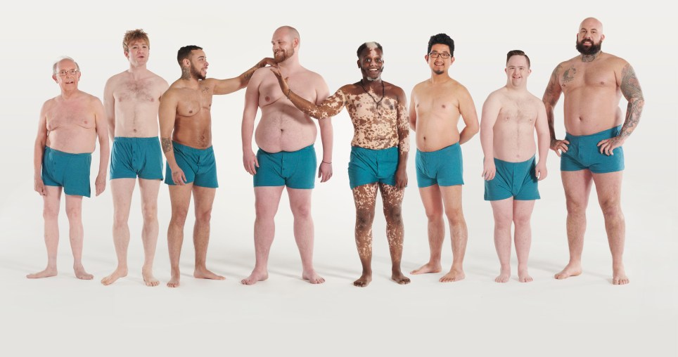 These 8 men are posed in their underwear to challenge body image for men's wellness campaign, Men of Manual.