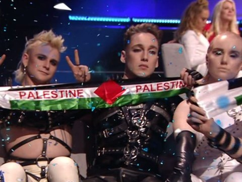 Iceland's Hatari film Eurovision staff trying to confiscate their Palestine flags