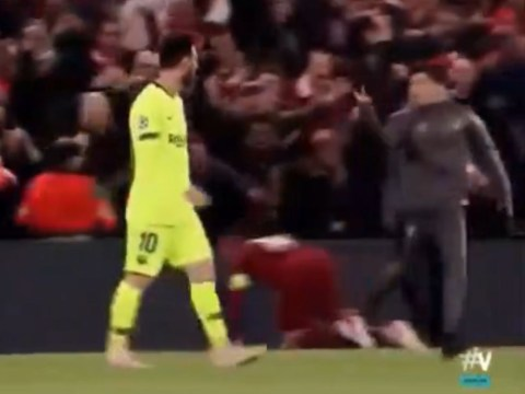 Liverpool fan flips off Lionel Messi as Barcelona star leaves Anfield pitch