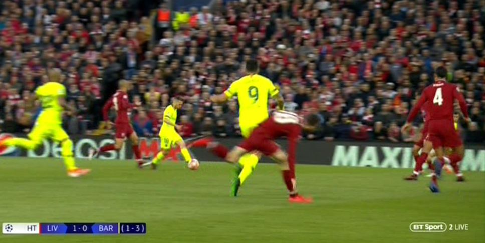 Luis Suarez injures Andy Robertson with two kicks during Liverpool's clash with Barcelona