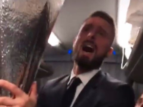 Olivier Giroud mocks Arsenal during celebrations on Chelsea team bus after Europa League final victory