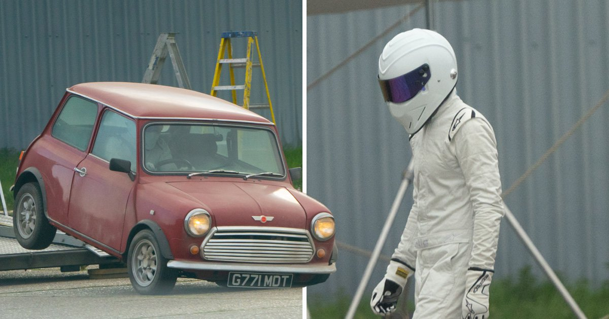 Top Gear's The Stig has a nightmare filming with Freddie Flintoff and Paddy Guinness as he almost destroys Mini