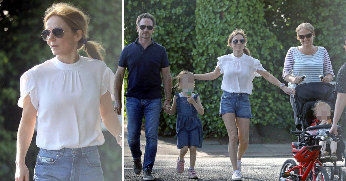 Geri Horner enjoys family day out as Emma Bunton admits Spice Girls stars lap up sex scandal