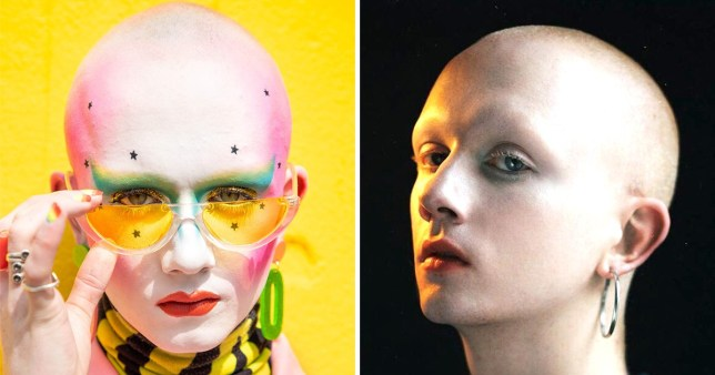 Compilation of images featuring Jamie Windust - one in makeup, the other without makeup