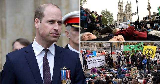 Prince William heckled by anti-nuclear weapons protesters