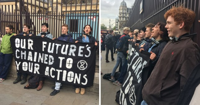 Climate change protesters locked on to Parliament