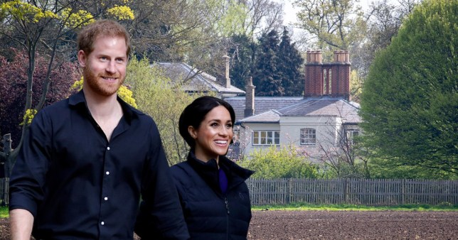 prince harry, meghan markle and a picture of their home frogmore cottage