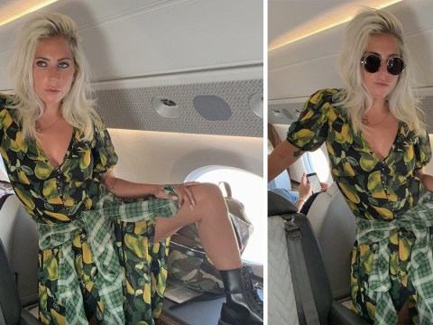 Lady Gaga says unshaven legs 'complete the look' as she poses on plane ahead of Met Gala