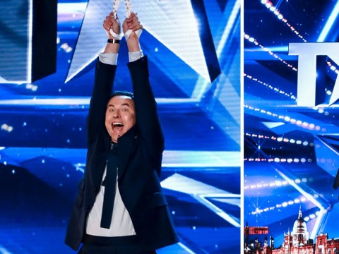 David Walliams looks so happy being lifted by an acrobat's teeth on Britain's Got Talent and it's a huge mood