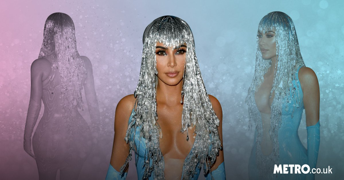 Kim Kardashian turns fembot in blue latex and tinsel wig for Met Gala after-party