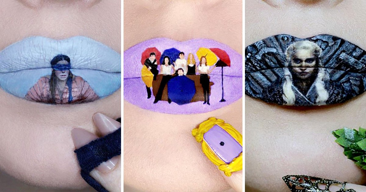 Make-up artist creates famous scenes on lips from Friends, Game of Thrones and Birdbox