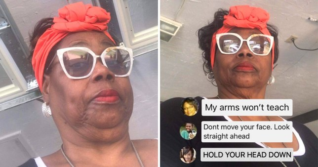 Family teach grandmother how to take a selfie