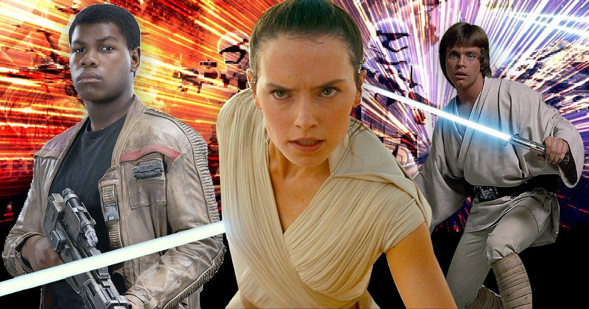 John Boyega as Finn, Daisy Ridley as Rey and Mark Hamill as Luke Skywalker