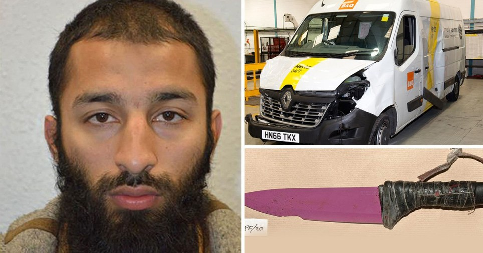 Terrorist Khuram Butt, the van used in the London Bridge attack, and the 12 inch ceramic knife used to stab people to death