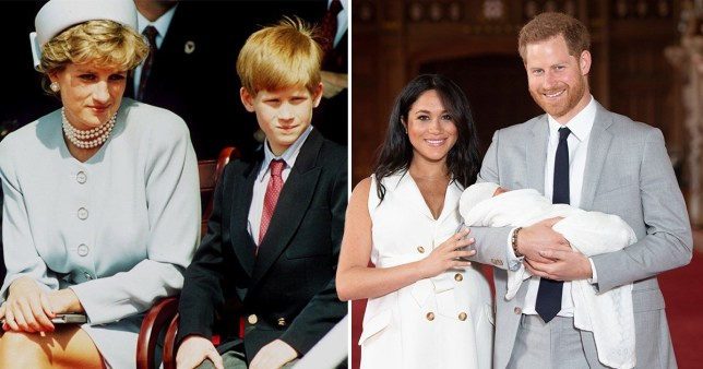 A photo of Diana and Prince Harry next to a photo of Prince Harry, Meghan Markle and Archie Harrison