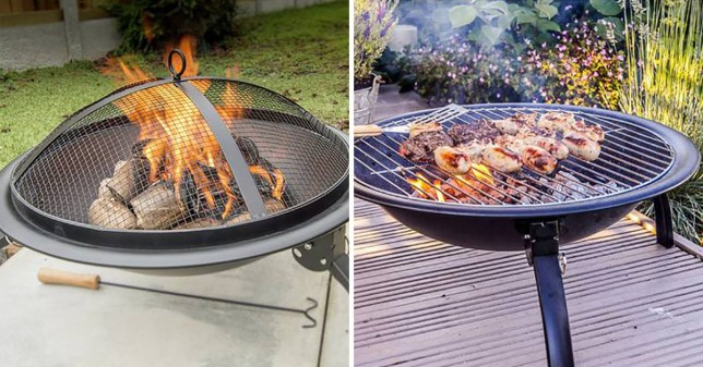 The firepit being used as a fire and on the right, the firepit being used to cook food