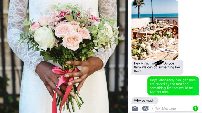 The bride asked for free wedding flowers
