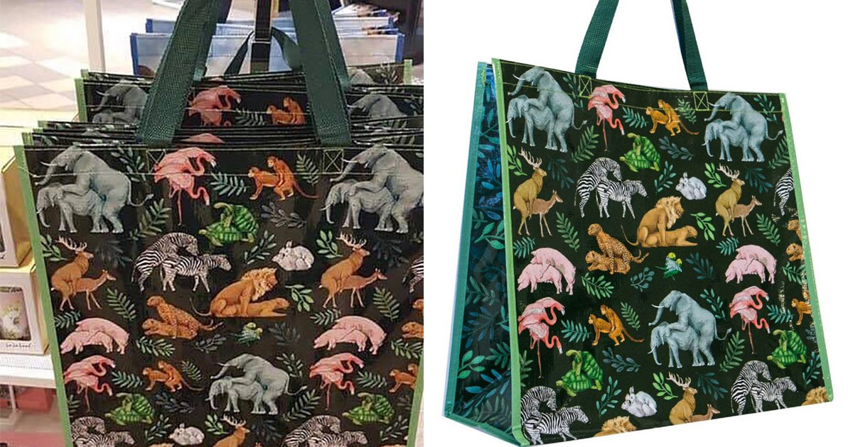 Eagle-eyed shoppers notice naughty 'jungle orgy' design on tote bag