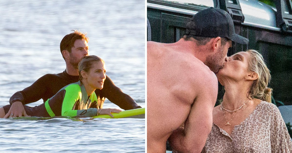 Chris Hemsworth teaches wife Elsa Pataky to surf and it's all kinds of cute