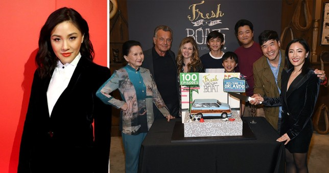 Constance Wu next to her fresh off the boat castmates
