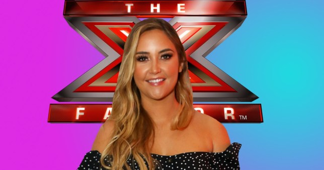 Jacqueline Jossa stands in front of the X Factor sign