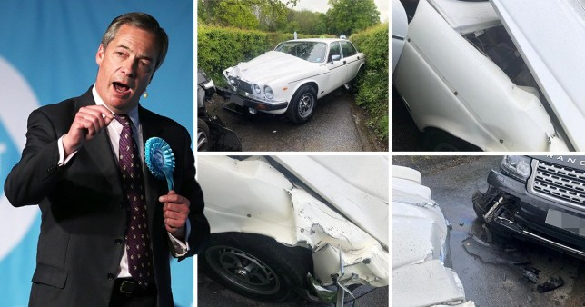 A pub landlord claims his vintage Janguar has been written off after a crash with Nigel Farage's chauffeur-driven Range Rover