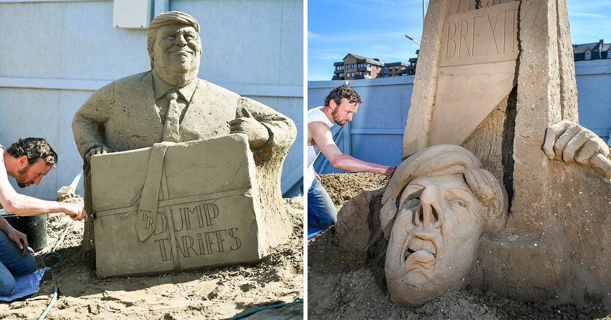 Theresa May beheaded by Brexit guillotine in controversial sand sculpture