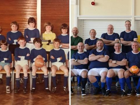 Football team recreate primary school photograph 40 years on