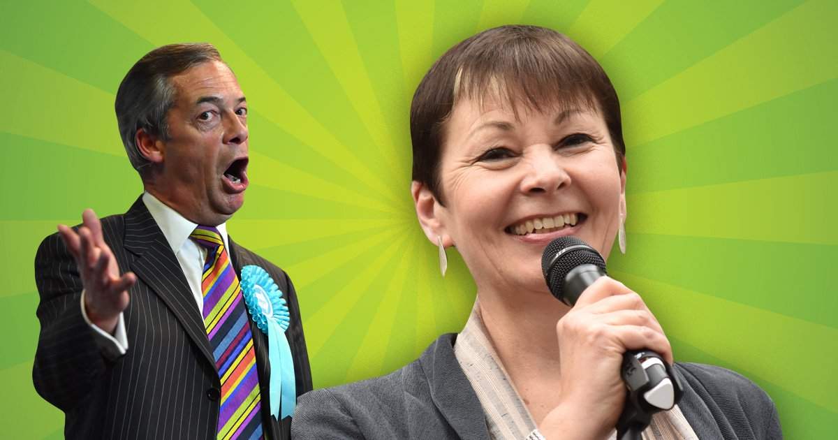 Compilation of Brexit party leader Nigel Farage MP and former Green party leader and current member Caroline Lucas MP