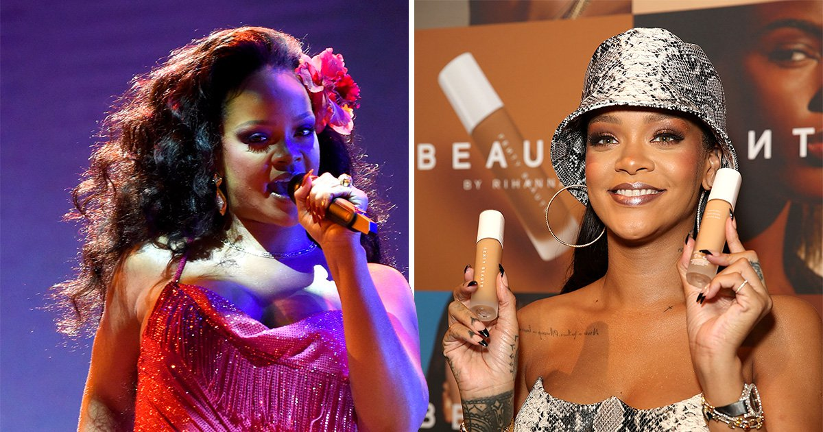 Rihanna performing on-stage and at a Fenty Beauty launch