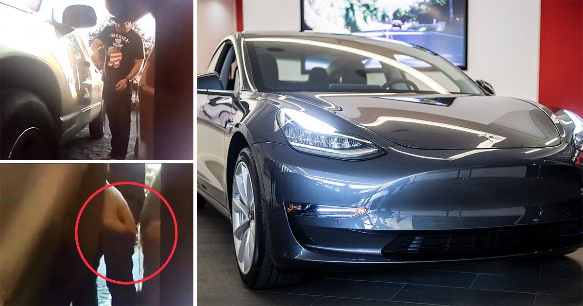 The Tesla Model 3 was keyed twice by two unidentified men in baseball caps (Metro)