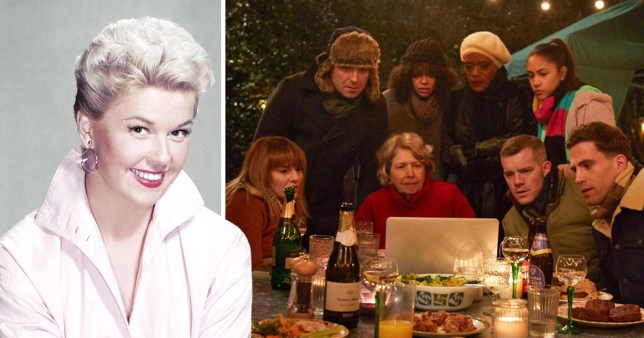 Doris Day and Years and Years family gathered around a laptop