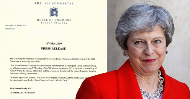 SEC_67726400 Theresa May agrees to set timetable for resignation