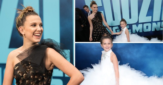 Millie Bobby Brown iposes with by six-year-old Avengers star Lexi Rabe at Godzilla premiere in Los Angeles on Saturday 18 May