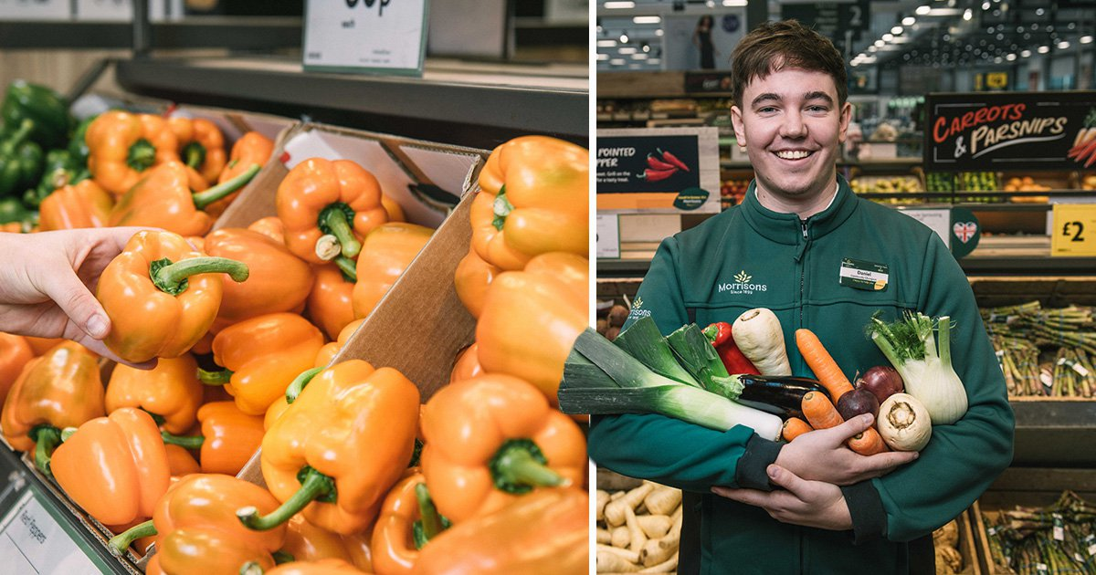 Loose peppers and a member of Morrisons staff with lax veg