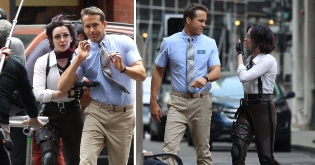 Ryan Reynolds and Jodie Comer pictured filming in Boston for new movie Free Guy