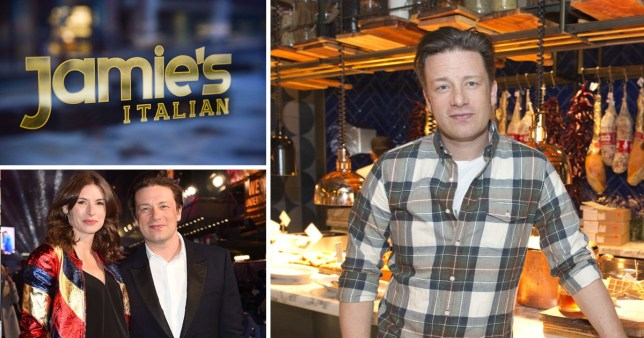 Jamie Oliver in the kitchen of is restaurant, Jamie Oliver and his wife Jools, and the logo of a Jamie's Italian