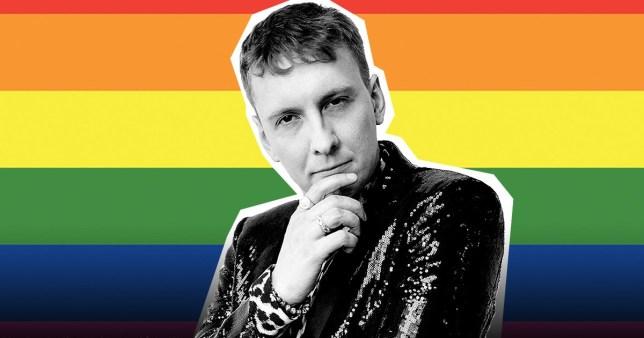Joe Lycett against rainbow flag