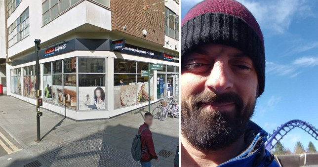 Daniel Heard who was refused to buy anything from Tesco if he bought a homeless woman a milkshake at Tesco Express at the corner of High Street and Corporation Street in Lincoln on Sunday