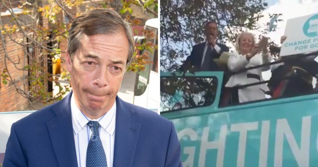 Nigel Farage was forced to stay on the bus